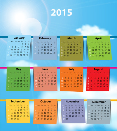 allegoric: Calendar for 2015 like laundry on the clothesline  Sundays first
