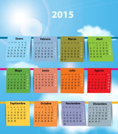 Spanish calendar for 2015 like laundry on the clothline  Mondays first Vector