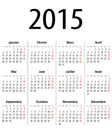 French Calendar grid for 2015. Mondays first.  Иллюстрация
