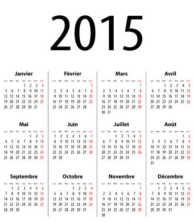 French Calendar grid for 2015. Mondays first.  Illustration