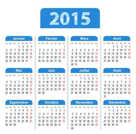 Blue glossy calendar for 2015 in French. Mondays first.   Vector