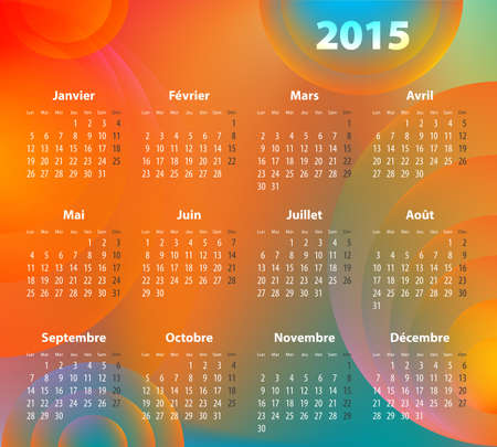 mondays: French colorful calendar for 2015 year with abstract circles. Mondays first.
