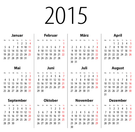 German Solid calendar for 2015. Mondays first.