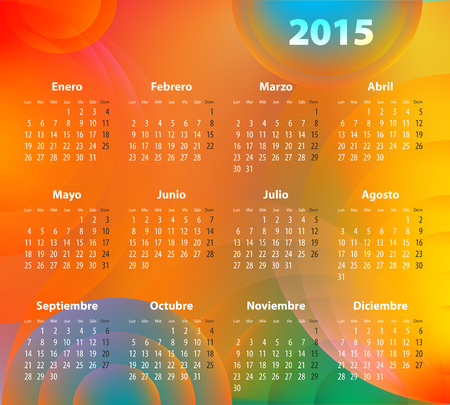 Spanish Calendar for 2015 on abstract circles background. Mondays first.  Vector