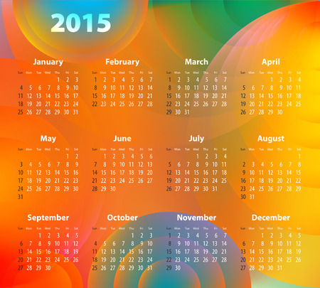 sundays: English Calendar for 2015 on abstract circles background. Sundays first.