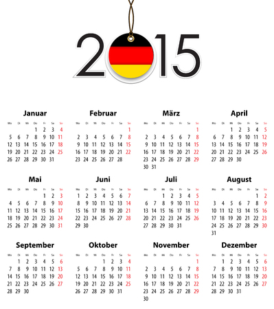 German Solid calendar for 2015 with flag like tag. Mondays first.  Vector