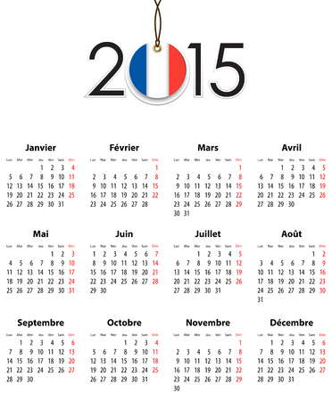 mondays: French Calendar grid for 2015 with flag like tag. Mondays first.  Illustration