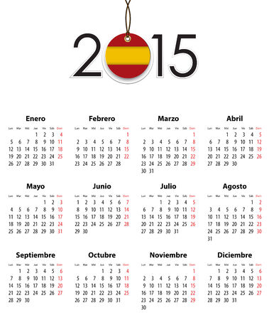 Spanish calendar grid for 2015 with flag like tag. Mondays first.  Vector