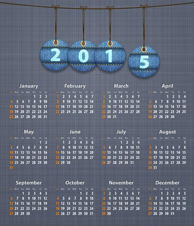 linen texture: Calendario de Ingl�s con estilo para 2015 sobre la textura de lino con pantalones vaqueros etiquetas colgado en la ilustraci�n hilo