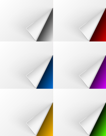 paper corner: White paper curls on different colors backgrounds for web design and other needs. Vector illustration