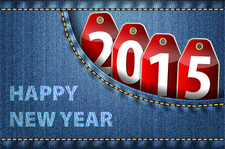 worldwide wish: Happy New Year greetings and 2015 digits on red tags in blue jeans pocket. Vector illustration Illustration