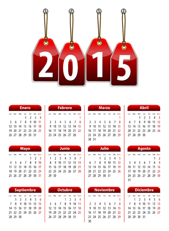 mondays: Spanish calendar for 2015 year with red hanging glossy tags. Mondays first. Vector illustration  Illustration
