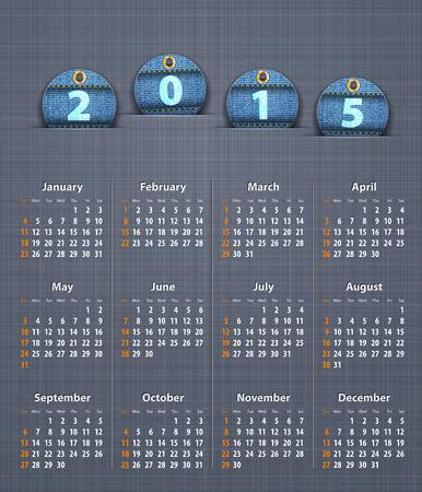 linen texture: Calendario con estilo para el a�o 2015 en la textura de lino con pantalones vaqueros etiquetas. Ilustraci�n vectorial