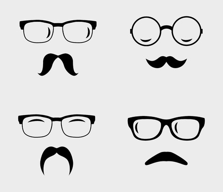 wayfarer: Glasses and mustaches set.