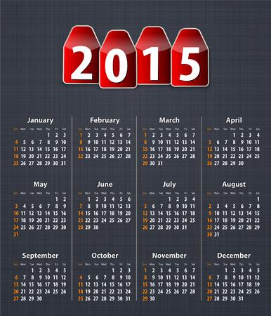 linen texture: Calendario con estilo para el a�o 2015 en la textura de lino con etiquetas rojas.
