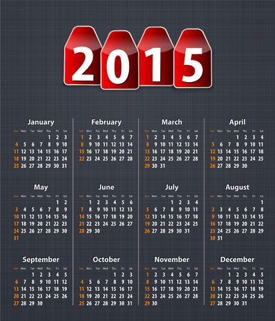 inset: Stylish calendar for 2015 on linen texture with red tags.