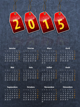 French stylish calendar for 2015 on stone texture with red tags  Vector illustration Vector