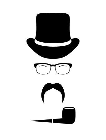 tobacco pipe: Gentleman attributes (hats, eyeglasses, mustache, pipe). Vintage design elements set. Hipster fashion. Man style. Vector illustration.