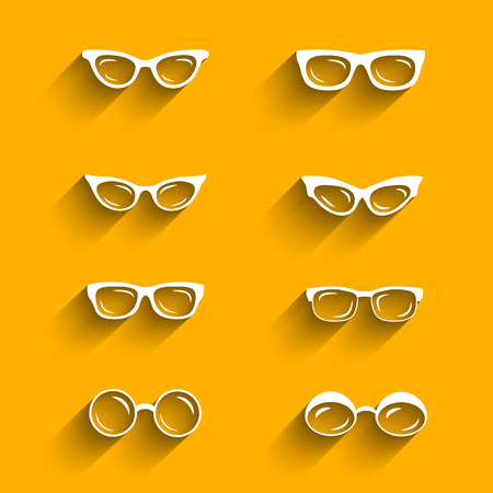 eye shade: Flat design eyeglasses vector set with shadows. Retro, hipster styles Illustration