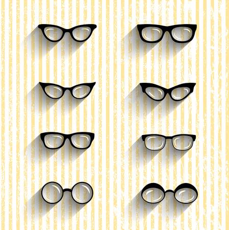wayfarer: Flat design eyeglasses vector set with shadows on grunge stripes background. Retro, hipster styles Illustration