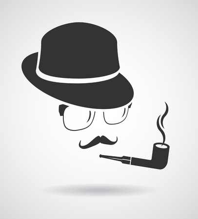 sir: Vintage design elements set like retro man (hats, eyeglasses, moustaches, pipe) Illustration