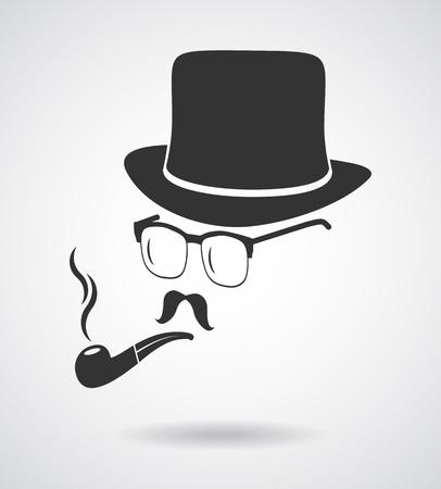 moustache: Smoking gentleman. Vintage design elements set like retro man (hats, eyeglasses, moustaches, pipe). Hipster fashion. Man style.