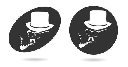 Smoking gentleman. Vintage design elements set like retro man (hats, eyeglasses, moustaches, pipe). Hipster fashion. Man style. Vector illustration. Vector