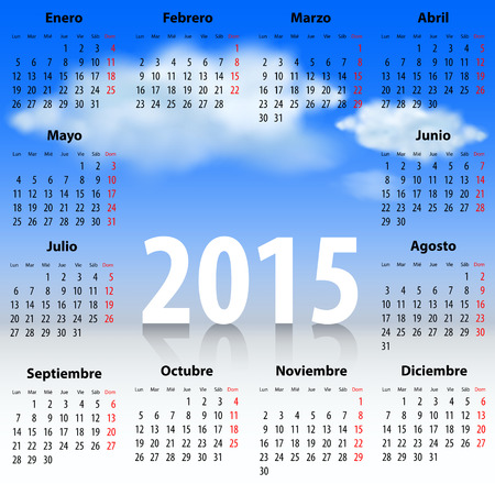 mondays: Calendar for 2015 year in Spanish with clouds in the blue sky. Mondays first. Vector illustration