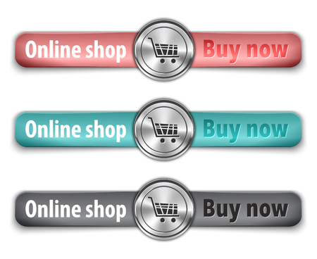 straps: Buy now metallic web element with colored leather straps. Vector illustration
