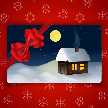 Winter holidays card with Winter landscape and with bow and ribbon on snowflake background. Vector illustration