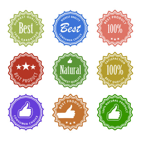 procent: Flat design satisfaction guarantee labels with gesture hand. Vector illustration