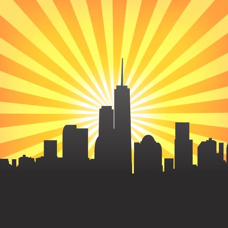 Modern cityscape on Sunburst Pattern. Vector illustration Vector