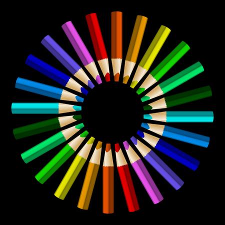 arrange: Color pencils in arrange in color wheel colors on black background. Vector illustration Illustration