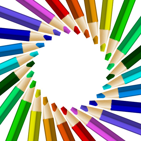 Rotated color pencils in arrange in color wheel colors on white background. Vector illustration