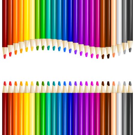 Color pencils in arrange in color row. Vector illustration Illustration