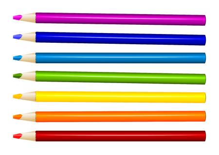arrange: Seven color pencils in arrange in color row on white background. Vector illustration Illustration