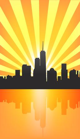 Modern cityscape on Sunburst Pattern with reflection. Vector illustration Vector