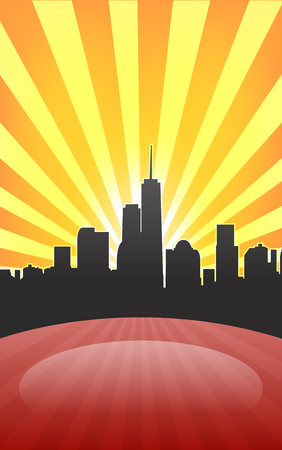 Modern cityscape on retro sunburst pattern with stage and spot on it. Vector illustration Vector