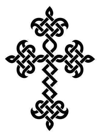 plaited: Iglesia Apost�lica Armenia cruz trenzado tradicional. Ilustraci�n vectorial Vectores
