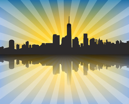 sunrays: Modern cityscape at sunset with sunrays and reflection. Vector background