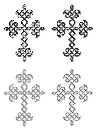 plaited: Tradicional Iglesia Apost�lica Armenia trenzado cruces establecidos. Ilustraci�n vectorial Vectores