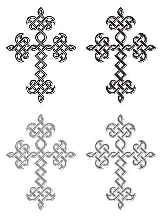 blessed trinity: Traditional Armenian Apostolic Church plaited crosses set. Vector illustration