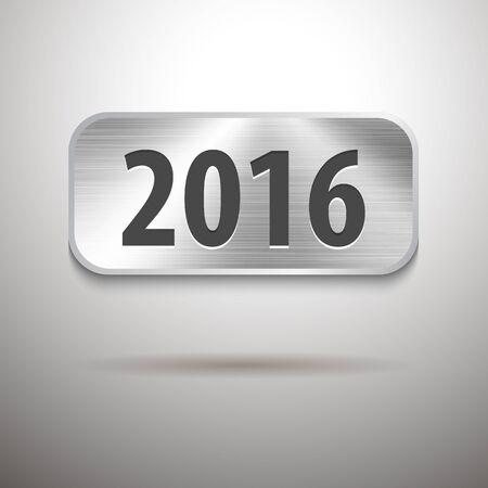 tablet vector: Calendar 2016 digits on brushed metal tablet. Vector illustration