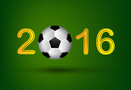 bounce: Soccer ball in 2016 digit on green background.  Illustration