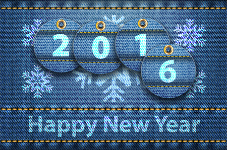 jeans background: 2016 year digits and Happy New Year greetings on blue jeans background. Vector illustration