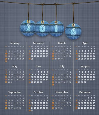 linen texture: Stylish English calendar for 2016 on linen texture with jeans tags hung on thread. Vector illustration