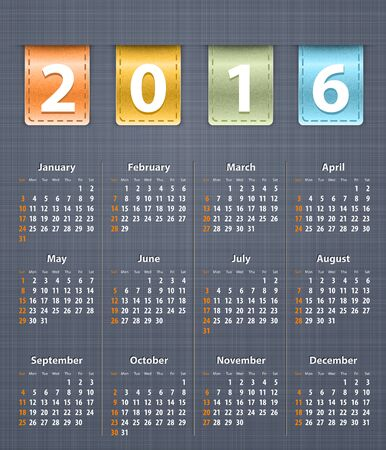 inset: Stylish calendar for 2016 on linen texture with color leather insertions. Vector illustration
