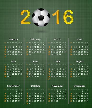 linen texture: Calendario del f�tbol por 2016 en la textura de lino verde.