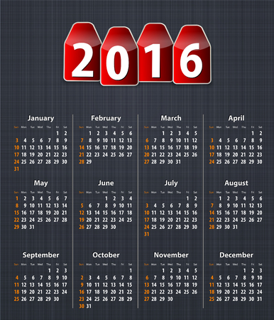 inset: Stylish calendar for 2016 on linen texture with red tags. Vector illustration Illustration