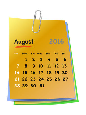 sundays: Calendar for august 2016 on colorful sticky notes attached with metallic clip. Sundays first. Vector illustration